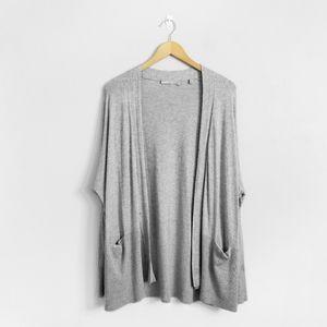 VINCE Grey Open Silk Cashmere Cardigan Sweater
